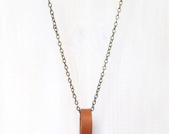 LEATHER + CRYSTAL LOOP || quartz shard on reclaimed leather loop pendant necklace