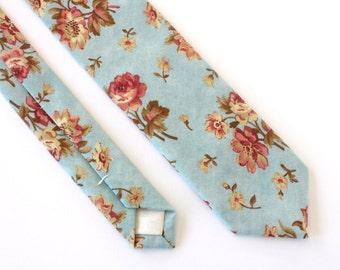 Light Blue Floral Skinny Tie - Men's Aqua Tie - Women's Floral Tie - Vintage Fabric Tie - Wedding Skinny Tie - Groomsmen Gifts