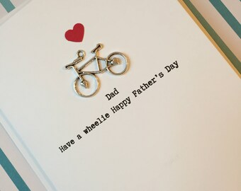 Dad/ Daddy Have a wheelie happy Father's Day card bike/ bicycle