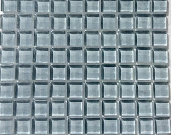 100 (10mm) MINI Gray Crystal Glass Mosaic Tiles 3/8 in.//Ebony//Mosaics// Mosaic Supplies//Crafts