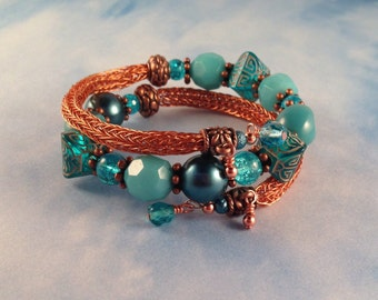 Copper and Turquoise Viking Knit Bangle Bracelet Wraps around Wrist Two Times and Fits All Wrist Sizes Previously 32 Dollars ON SALE