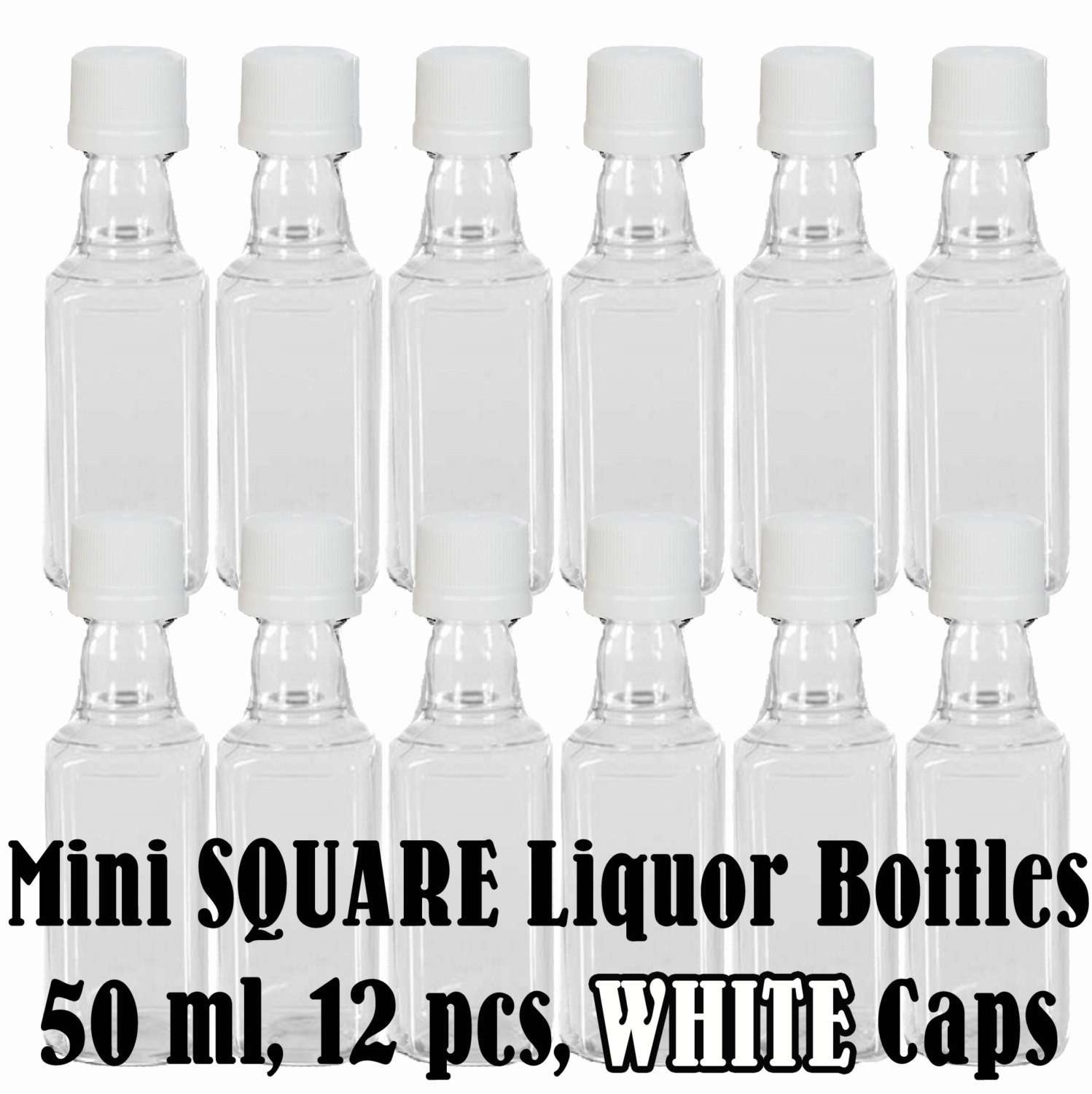 Mini SQUARE Plastic Alcohol 50ml Liquor Bottle Shots + WHITE Caps ...