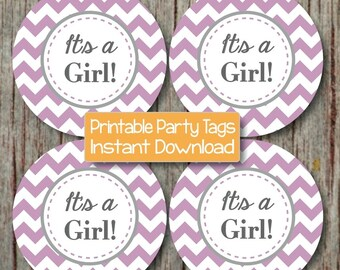 Baby Shower Cupcake Toppers Stickers It's a Girl Printable Baby Shower Decorations Favor Tag Labels Purple Grey Chevron INSTANT DOWNLOAD 112