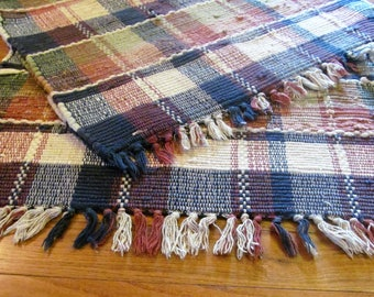 Set of 2 matching Rag rugs with fringes.Woven. Plaid pattern.Oblong