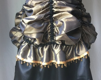 Bustle - Antique Gold and Black Tie-on Bustle - Pintucked Taffeta and Satin - Steampunk, Victorian, Burlesque, Western, Cosplay, Costume