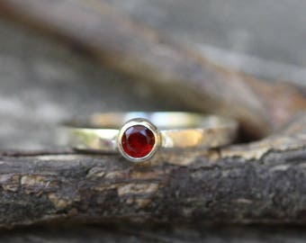 Mexican Fire Opal Ring ... 4mm Mexican Fire Opal gemstone October birthstone ring sterling silver stacking ring gemstone ring