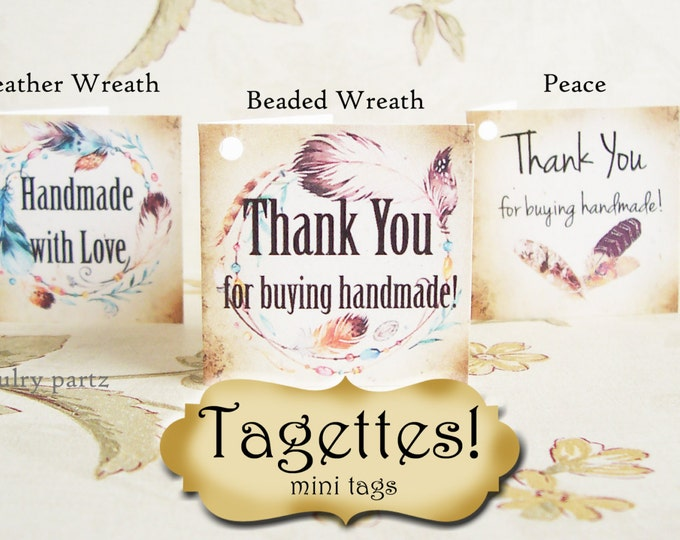60•TAGETTES•Boho Feathers•Mini Tags•Hang tags•Gift Tags•Favor Tags•Paper Tags•Price Tags•Clothing Tags