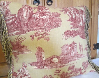 French Country Toile with Fringe Pillow Cover