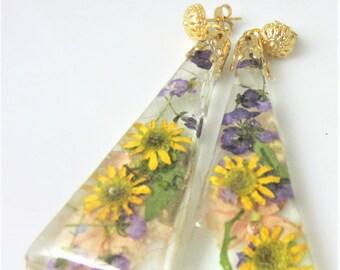 Sunflower  Post Earrings, Real Flower Earrings, Pressed Flowers, Resin (2012)