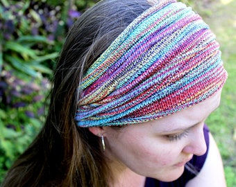 EXTRA Wide Rainbow Hippie Headband for Dreadlocks, Loc Sock, Dread Accessories, Dreadlocks Headband, Knit Headband, Boho Head Wrap, Festival