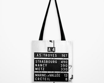 Black and White French Tote Bag w Silky Tassel - Print of Distance to Strasbourg, Nancy, Metz - Travel Photography - Small, Medium, Large