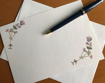 Thyme Flower, Flat Note Card, Botanical, Floral Cards, Illustration, Stationery, Gardener Gift, Garden Shop Gift, Note writer Gift