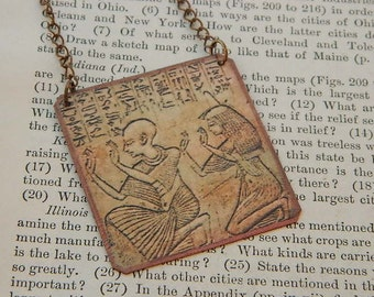 Necklace Egyptian jewelry People in Prayer Ancient Egypt mixed media jewelry