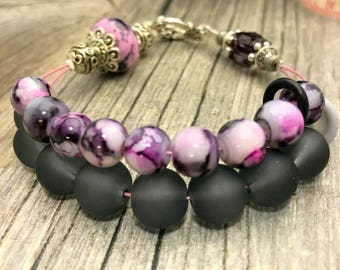 Black Lilac Abacus Row Counting Bracelet |  Knitting Row Counter | Gift for Knitters