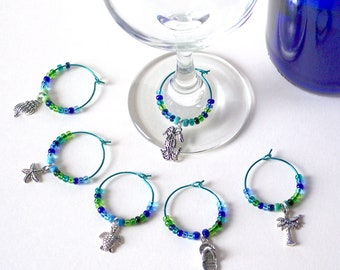 Beach Wine Charms Set of 6 / Hostess Gift / Wine Lover's Gift / Wine Glass Charms / Wine Glass Jewelry / Beach Wedding Favors