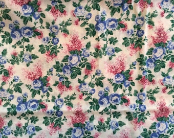Blue Roses On A Beige Background Cotton Fabric By The Half Yard