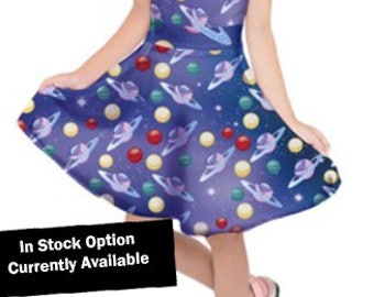 Planets Dress Kids Planets Dress Girls Planets Dress in the Galaxy Dress Space Outer space Universe *****MTO, Month****
