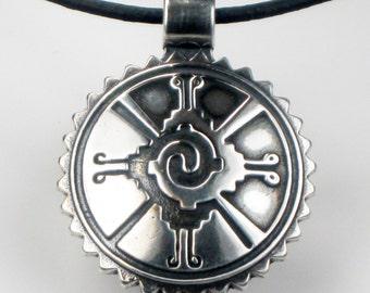 SALE -Mayan Hunab Ku Sterling Silver Keyring Gift - Earth Air Water Fire Tribal Silver Pendant - SW Symbolic Sun Sterling Silver Keyring