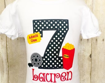 Girls Movie Birthday Shirt - Any Age Available - Movie Birthday - Popcorn Birthday - Movie Themed Shirt or bodysuit