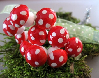 Bright Red Spun Cotton, Spotted Mushrooms with Moss and Ribbon