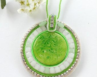 Pendant  Necklace lime soutache handwork.