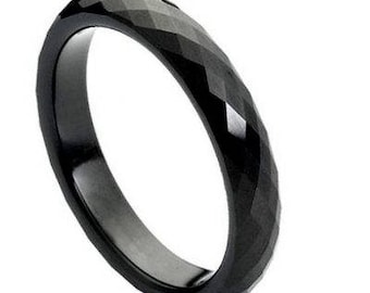 Black IP Faceted Ring – 4mm