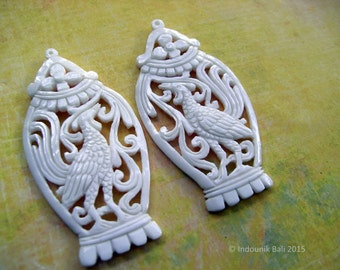 The Birdcage Vintage Style Carved Bone Earring Pair of Pendant Beads 55mm