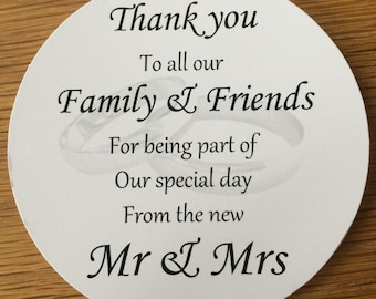 Thank You Coasters (Rings)   on White Card KP024 BL/WT