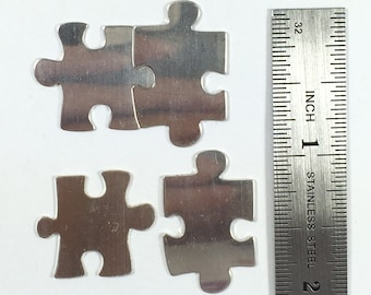 "Puzzle pair sets, 2 pair puzzle pieces, 22 gauge sterling, Interlocking puzzle, puzzle blanks, 3/4 "" X 7/8 "" and 1 "" X 5/8 "",  2 set pack"