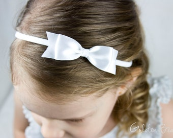 White Classic Ribbon Bow Headband OR Clip -  Classic Bow -  Satin White  Bow Handmade Headband - Infant to Adult Headband