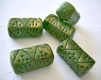Pine Green Vintage Lucite Beads Gold Accents Oblongs 5