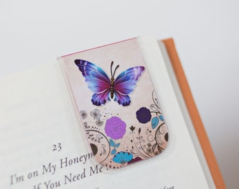 Magnetic Bookmark, Laminated Bookmark, Butterfly Bookmark, Flower Bookmark, Nature, Purple, Blue, Teal, Pink