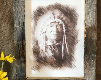 Native American Indian with Headdress Canvas Print, Rustic Wood Frame, Western Decor, Southwestern Decor,