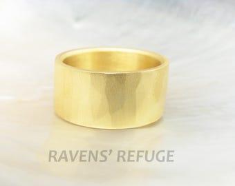 wide gold band -- hammered 21k wedding band -- high karat gold ring