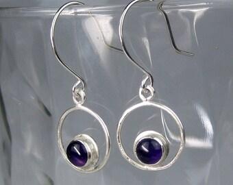 Amethyst Sterling Silver Dangle Earrings   6mm Purple Amethyst Earrings   Mod Circle Earrings   Modern Minimalist Jewelry   Made to Order