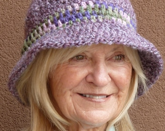 Purple winter hat that's really lilac, women's winter hat with a brim, a crochet hat that will make you smile, gift for her