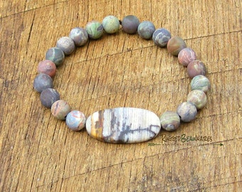 Mens Outback Wood and Red Creek Jasper Bracelet rustic rugged outdoorsy earth colors earthy tones brown black green grey RuggedBeauWares