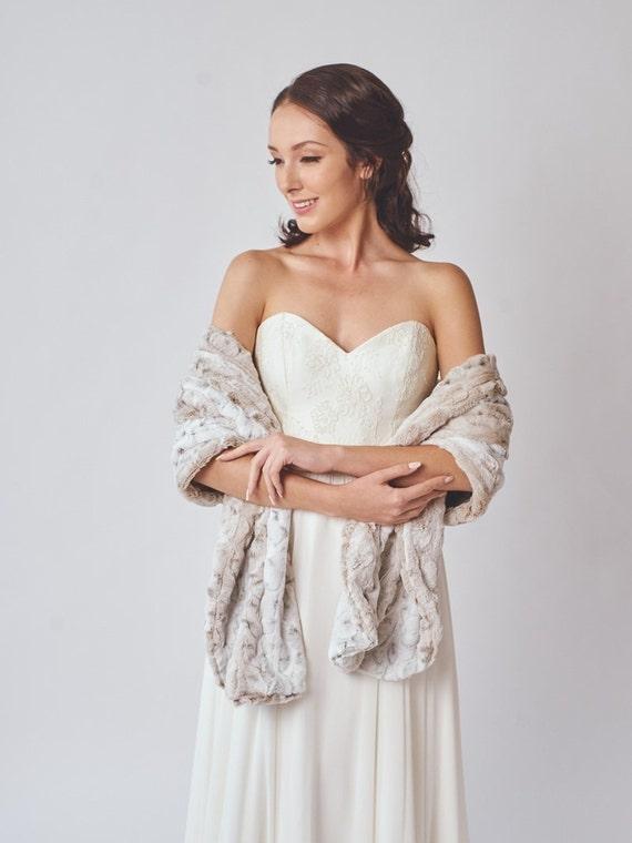 Wedding shawl Faux Fur Stole Winter Wedding Bridal Fur