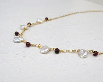 Keshi pearl necklace, Red garnet necklace gold