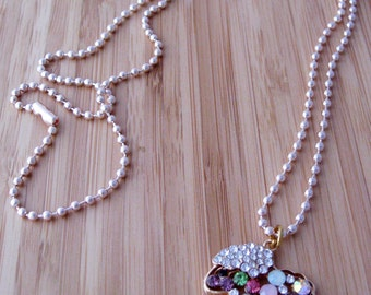Faux Diamond sheep necklace  x 1    -  copper ball chain (in  rose gold) or link chain (in gold)