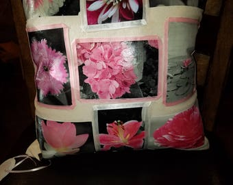 Pink and black flower pillow