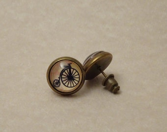 10mm Bicycle Earring Studs, Penny-farthing Cycle, Set in Glass, # 2006