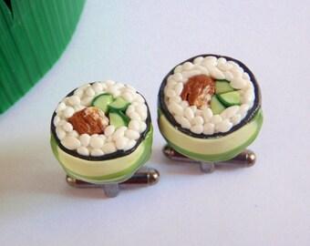 Dragon Roll Sushi Cufflinks - Miniature Food Art Jewelry Collectable - Schickie Mickie Original 100% handmade