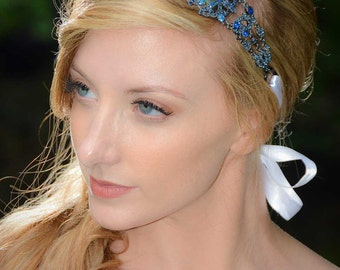 Michelle - Large Vintage style Jeweled Ribbon Headband in Cobalt