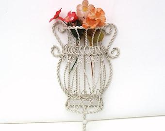 Vintage Wall Planter | Metal Planter | Wall Pocket | Towel Hanger | Wall Basket | Hanging Basket | Wall Rack | Twisted Wire Basket