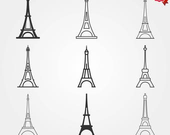 Eiffel tower icon set, french icons