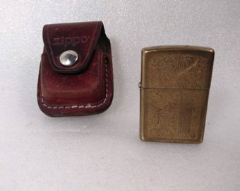 Vintage Personalized Etched Brass Zippo Lighter with Zippo Case