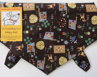 Handmade Dog Bandana! Garden/ Allotment Print With Goats! Tie on, Brown, Super-cute! UK made by Dudiedog. 100% cotton, Free UK P&P. 7 sizes!