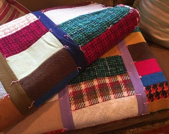 Vintage PAIR of Handmade Crazy Quilts Twin Size Cotton Wool Quilts  Hand stitched Patchwork Quilts Log Cabin Quilts Heavy Blankets