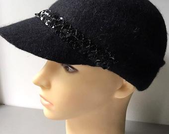 Women Black Felted Cap 100% Handmade